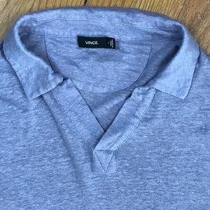 Vince Womens Split Neck Collared Shirt Sz L Purple